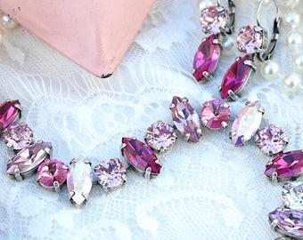 Swarovski Crystal Bracelet, Pink Bracelet, Crystal Bracelet, Statement Bracelet, Bridesmaid Bracelet, Swarovski crystals, Swarovski Bracelet