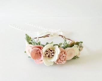 Baby/Child/Adult Felt Flower Crown || Flower Crown || Felt Flowers || Floral Crown || Festival Wear || Photo Prop || ROSE GOLD