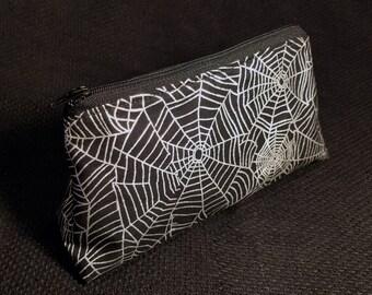 Metallic Silver Spider Web Zippered Pouch / Small Makeup Bag / Pencil Case / Bag Organizer / Goth Accessory