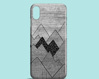 Grey Mountains mobile phone case, iPhone X, iPhone 8, iPhone 7, 7 Plus, iPhone SE, iPhone 6/6S, iPhone 5/5s, illustrated iPhone 7 cover