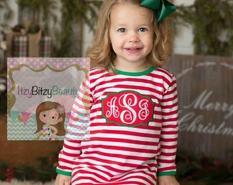 Girls Christmas Nightgown - Night Gown Ruffle Dress - Monogrammed Christmas Pajamas -  Red And White Stripe - Christmas Dress - Monogram