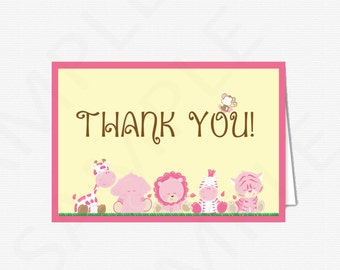 Safari Baby Shower Thank You Card Baby Shower / Girl Thank You Cards / INSTANT DOWNLOAD / PRINTABLE Pink Baby Shower Bs0001-P