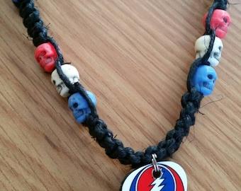 Hemp Necklace / Gratefuldead Hemp Necklace / Black Hemp Necklace / Gratefuldead Necklace / Stealie Necklace / Guitar Pick Necklace