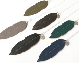 Long necklace, Necklace Plume Leather and Pompon cotton, sequin Silver Color of choice