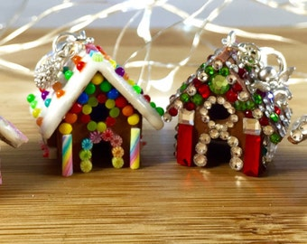 Polymer clay gingerbread house charm jewelry