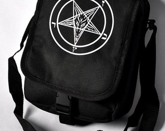 Cryoflesh Pentagram Satanic Mark of the Beast 666 Cyberpunk Shoulder Bag