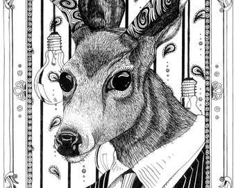 "Funky Surreal Pen and Ink Deer Print // 11 x 13"""