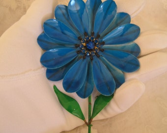 Vintage Enamel Metal Daisy Brooch Pin French Blue with Rhinestone Center HUGE!