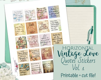 Printable Horizontal Vintage Love Quotes Planner Stickers for Erin Condren Life Planner, Cut, Silhouette, Floral, Flowers, Vintage