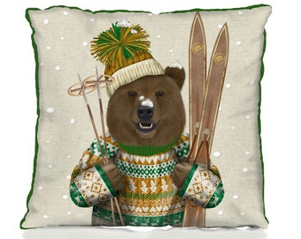 Christmas pillows cover  Ski Bear Christmas Sweater - Christmas cushion cover christmas decor xmas decor xmas pillow bear cushion bear gift