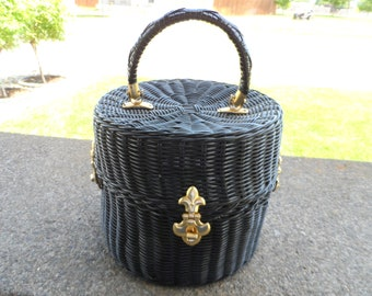 Vintage 1950's Hat Box/Wig Box* Shiny Black Wicker .Mid Century Hat Box With Handle . Wig Box . Classic . One Of A Kind . Rare Hat Box .