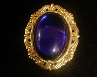 Vintage Oval Filigree Blue Cabochon Brooch