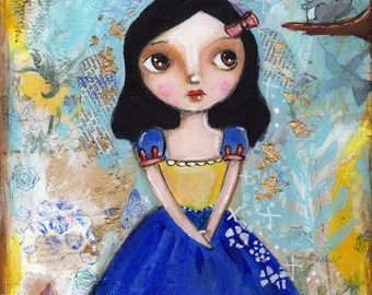 Snow White painting, Fairy Tale,  Mixed Media Painting , Childrens Art, Nursery Decor, Original painting, Whimsical Girl, tuxedo cat