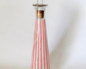 Vintage Decanter Bathroom Pink and White Stripes