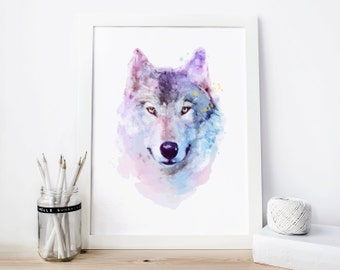 Wolf Print wolf Watercolor wolf Printable wolf Painting, wolf Wall Art wolf Decor wolf Nursery Woodland Wolf woodland nursery, wolf gifts