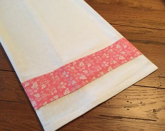 Vintage Pyrex -Tea Towel -Flour Sack Towel - Gooseberry Print Towel - Pink Flower Sack - New handmade Kitchen Linen Decor
