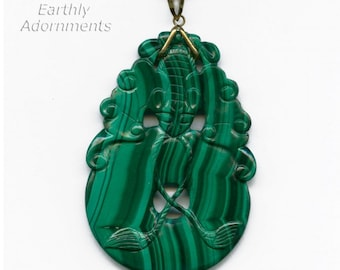 Vintage Chinese fine malachite carved bat pendant. 14k bail. pdgm107