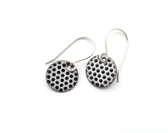 Small Black and White Earrings with Sterling Silver Earwires - Lightweight Enamel Jewelry - Birthday Gift for her