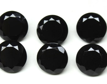Black Spinel Faceted Round Natural Loose Gemstone - Calibrated Size 15x15mm, 6 PCs Lot Gorgeous Faceted Black Spinel Round Gemstone SM 20