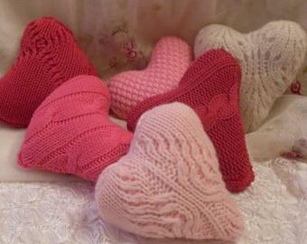 Farmhouse Decor 3 Knit Hearts  Primitive Folkart Beaconhillcollect  We Ship Internationally