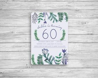 Purple Floral Birthday Invitation