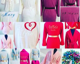 Monogrammed Robe, Personalized Robe, Monogram Robe, Raspberry Pink Robe, Fleece Robe, Fluffy Robe