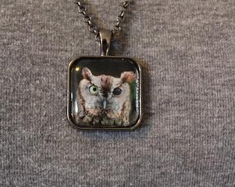 "Pendant Necklace ""Roscoe"" Eastern Screech Owl"