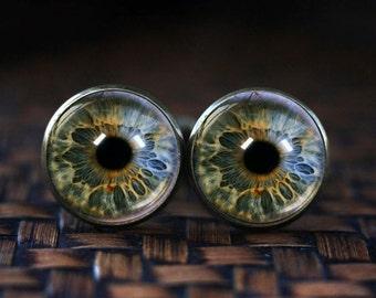 Eye cufflinks, Eye Jewelry Glass cufflinks, Realistic Human Eyeball, Eye Steampunk Gothic Eye cufflinks, Anatomy cufflinks