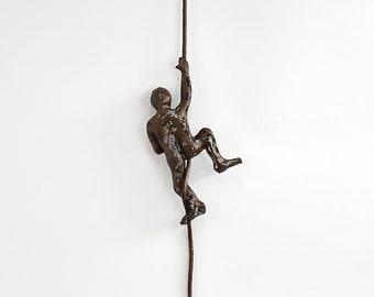 Miniature metal sculpture, Climbing man on the rope, sport wall decor, wall hanging, rock climbing, Metal wall art