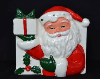 Vintage Planter with Santa Holding a Gift and Holly Berries Made in Japan