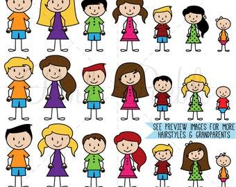 Stick Figure Clipart Clip Art Vectors, Stick People Family Clip Art Clipart Vectors - Commercial and Personal Use