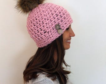 Cotton Candy  Women's Winter Hat with Faux Fur Pom-pom