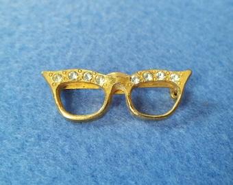 Vintage Rhinestone Eyeglass Brooch, gold tone vintage pin vintage brooch, vintage glasses with clear rhinestones