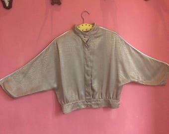 Gold blouse with subtle snake print