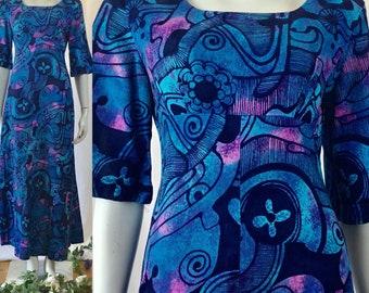 Vibrant Vintage hawain ui-maikai barkcloth tribal print dress