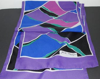 "Beautiful Signed Yvette Montagne  Paris vintage Scarf - geometric design 58"" x 12"""