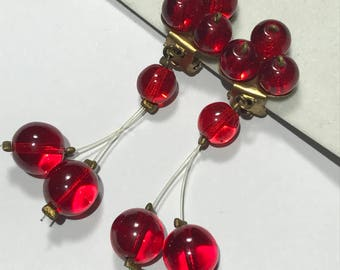 Vintage dangle  Earrings - blood red Glass . Clip on earrings