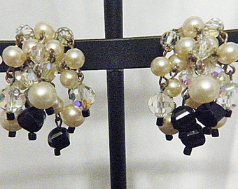 """Vintage """"LAGUNA"""" Aurora Borealis and Dangling Pearl Clip Earrings - V-EAR-598 - Pearl Earrings - Pearl Cluster Earrings"""