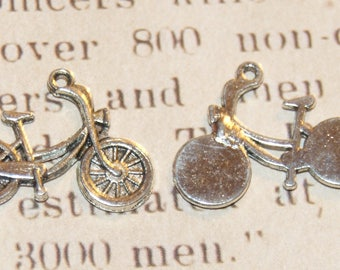 2 silver 26x20mm bicycle charms