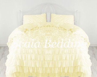 800 TC Waterfall Ruffle Duvet Cover With Matching Pillow Shames 100%  Egyptian Cotton Ivory Color