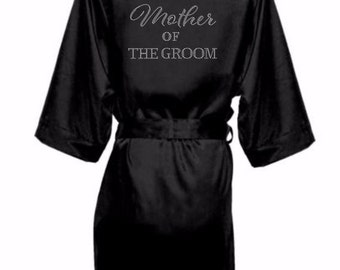 Bridal Party Satin Robes with Rhinestone Crystals, Bridesmaid Robes, Satin Bride Robe,Rhinestone Bridal Party Robe, Mother of the Groomrobe