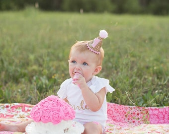 Mini Glitter Birthday Girl Party Hat First Birthday Baby