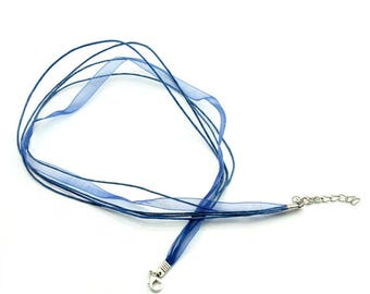 Necklace clasp Lake 43.2 cm Blue organza Ribbon