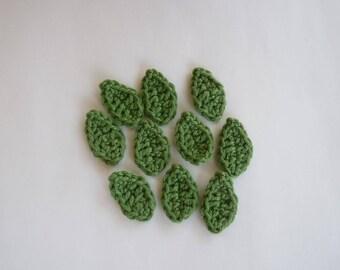 10 green leaves crochet