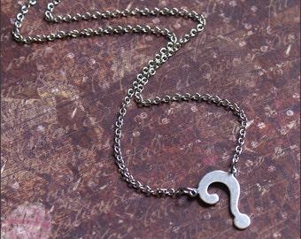 Question Mark Necklace, Silver Question Mark Jewelry, Silver Necklace, Teacher Necklace, Mom Necklace, Fun, Unique Jewelry, SALE SALE SALE
