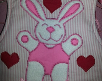 Spring Bunny Love Ballerina Childs Vest in Pink and White stripped fabric