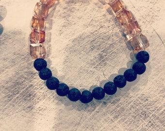 Orange and black diffuser bracelet