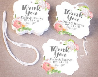 100 THANK YOU Wedding Tags | Personalized Wedding Favor Tags | Floral Peony