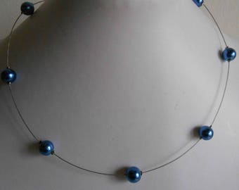 Simple wedding Necklace dark blue beads