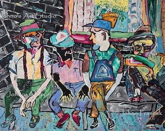 park bench, old man art, man sitting, park art, abstract wall art, modern art art by Johno prascak